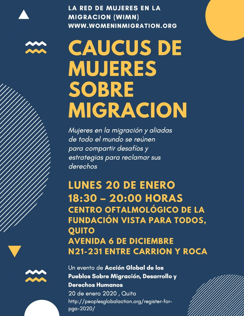 Women's Caucus of the People's Global Action for Migration, Development & Human Rights (PGA) 20 January, Ecuador