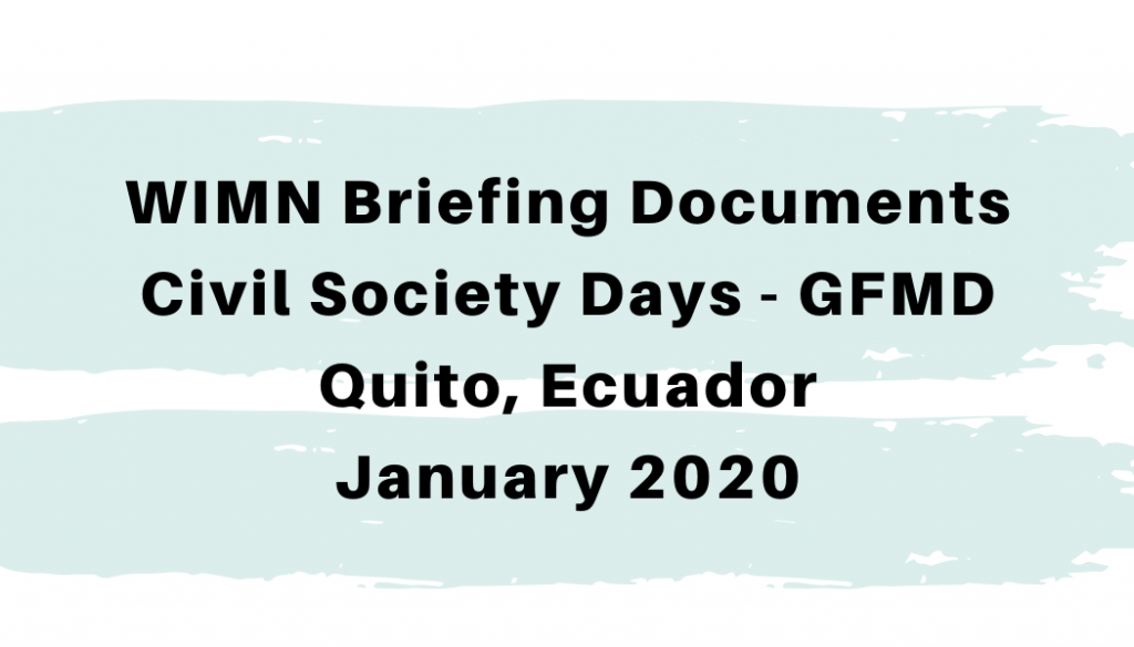 WIMN Briefing Documents – Civil Society Days – GFMD, Quito 2020